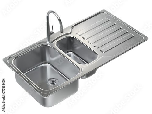 Kitchen sink with tap and double bowl isolated on white background - 3D illustra Canvas Print