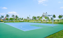 Outdoor Open Basketball Court Under Sunny Sky . Healthy Lifestyle Sport Background .