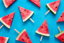Fresh Watermelon Slices On Sticks