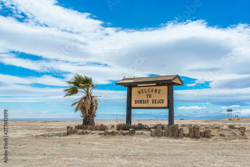 Welcome to Bombay Beach sign at Salton sea recreation area Canvas Print