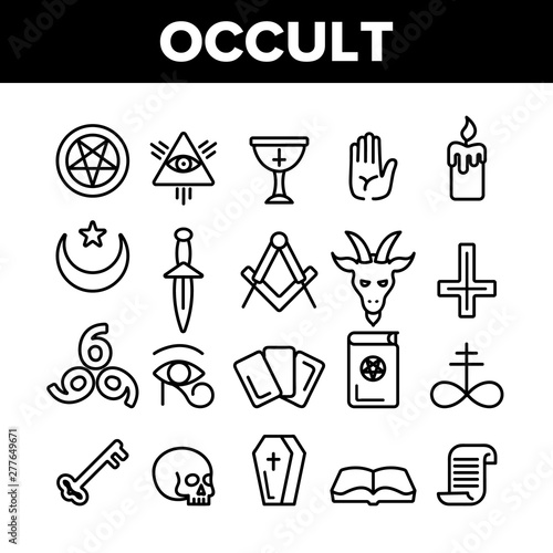 Cuadros en Lienzo Occult, Demonic Entity Imagery Vector Linear Icons Set