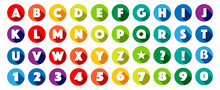 Alphabet / Lettres Dans Cercles Multicolores