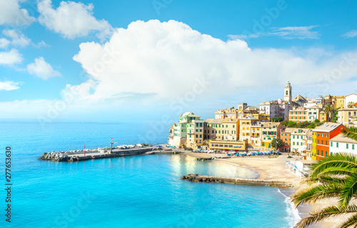 View of Bogliasco. Bogliasco is a ancient fishing village in Italy, Genoa, Liguria. Mediterranean Sea, sandy beach and architecture of Bogliasco town.