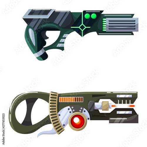 Weapon vector space gun blaster laser gun with futuristic handgun and fantastic Canvas Print