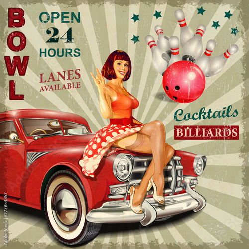 Bowling vintage poster with pin-up girl and retro car. Canvas Print