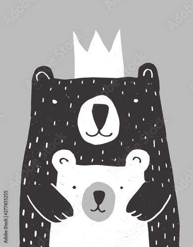 Foto-Schmutzfangmatte - Cute Hand Drawn Big Bear and Little Baby Bear Vector Illustration. Gender Neutral Colors Nursery Art for Card, Invitation, Father's or Mother's Day. Big Black Daddy or Mommy Bear with White Crown. (von Magdalena)