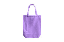 Light Purple Cloth Bag Isolated On White Background With Clipping Path