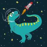 Fototapeta Dinusie - Cute cartoon dinosaur in space. Great design elements for kids apparel, nursery decoration, patch or poster. Hand drawn vector illustration.