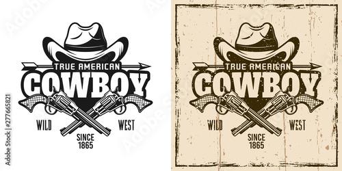 Fotomural  Cowboy hat and crossed pistols vector emblem