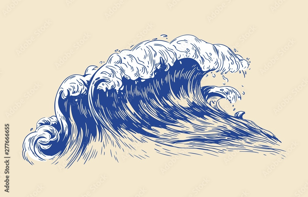 Fototapety, obrazy: Elegant colored drawing of sea or ocean wave with foaming crest isolated on light background. Oceanic tide, wash or swash. Seawater or saltwater. Realistic vector illustration in vintage style.