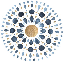 Moon Mandala In Blue And Gold