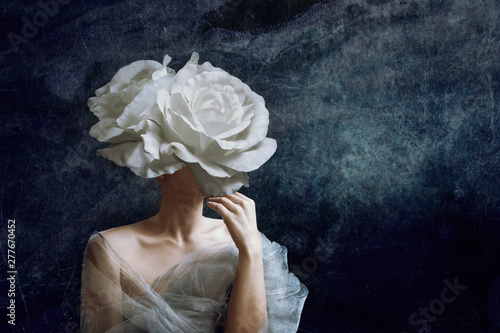 Fototapeta Strange fine art concept. The body of a woman, her head is a rose. obraz