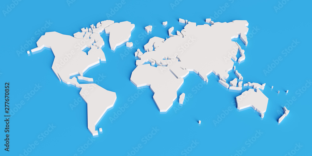 Fototapeta simplified map of the world, stylized 3d render illustration