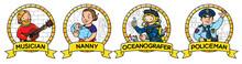 ABC Professions Set. Musician, Nanny, Policeman, Oceanographer