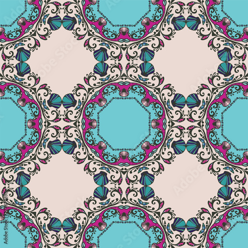 Seamless pattern with mandalas in beautiful colors Canvas Print
