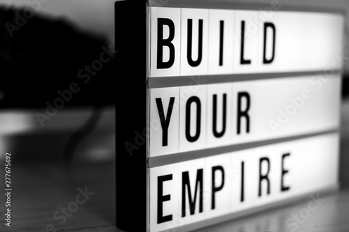 Fotografie, Tablou Motivational Business start up board. Concept. Flat lay. Top view