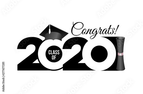 Fototapeta Lettering Class Of 2020 For Greeting Invitation Card Text For Graduation Design Congratulation Event T Shirt Party High School Or