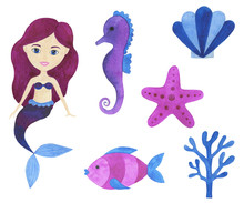 Mermaid Watercolor Beautiful Set Of Illustrations Maritime Collection Of Fairytale Characters Underwater Landscape Corals Starfish Shells Pearl Isolated Marine Drawings