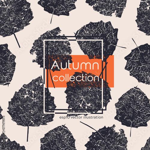Seamless aged black autumn leaves print Wallpaper Mural
