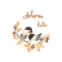 Autumn Beautiful Decor With Birds Black-capped Chickadee, Acorns, Oak Branches And Leaves. Vector Isolated Illustration In Vintage Watercolor Style.