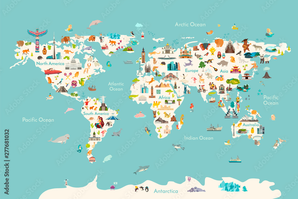 Fototapety, obrazy: World map vector illustration. Landmarks, sight and animals hand draw icon. World vector poster for children, cute illustrated. Travel concept card