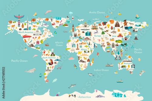 Fototapeta World map vector illustration. Landmarks, sight and animals hand draw icon. World vector poster for children, cute illustrated. Travel concept card obraz