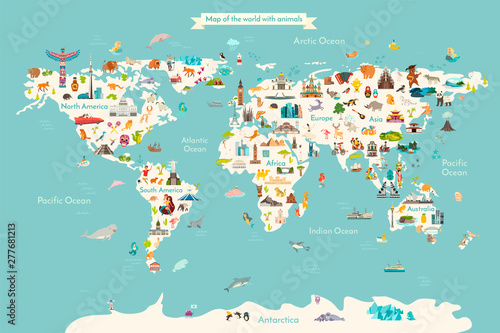 Fototapeta Landmarks world map vector cartoon illustration. Cartoon globe vector illustration. landmarks, signs, animals of countries and continents. Abstract map for learning. Poster, picture, card obraz