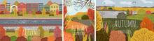 Autumn Landscape. Set Of Vecto...