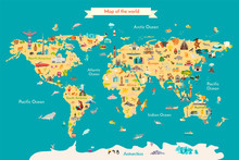 World Map Vector Illustration With Landmarks. Travel Map With Landmarks, Animals And Sight Of Country.