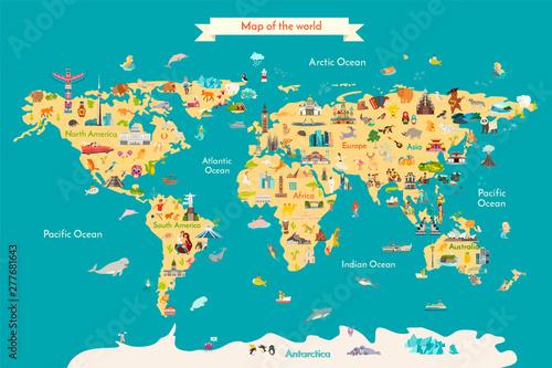 Fototapeta mapa świata dla dzieci  ilustracja-wektorowa-mapa-swiata-z-zabytkami-mapa-podrozy-z-punktami-orientacyjnymi-zwierzetami-i-widokiem
