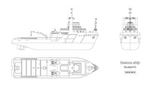 Outline Blueprint Of Rescue Ship On White Background. Top, Side And Front View. Industry Drawing. Isolated Image Of Boat