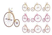 Penny Farthing Bike Set. Retro...