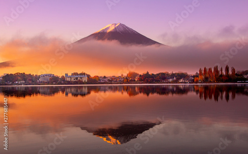 Foto auf AluDibond Cappuccino Mount Fuji at sunrise, Japan
