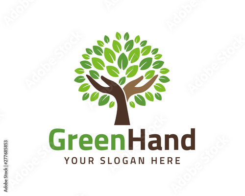 Human hands and tree with green leaves. Logo, symbol, icon, illustration, vector, template, design