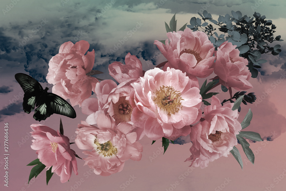 Fototapety, obrazy: Vintage card. luxurious bouquet of garden flowers of peonies and butterfly.