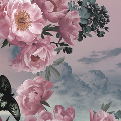 Panel Szklany 3D Vintage background. Garden flowers pink peonies and butterfly.