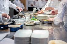 Restaurant Team Chef Working T...