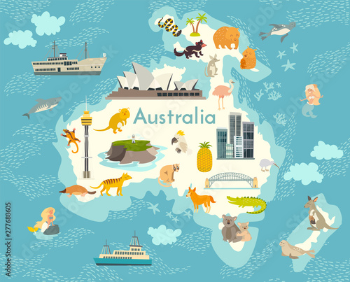 Map Of Australia With Landmarks.Australia Continent World Vector Map With Landmarks Cartoon