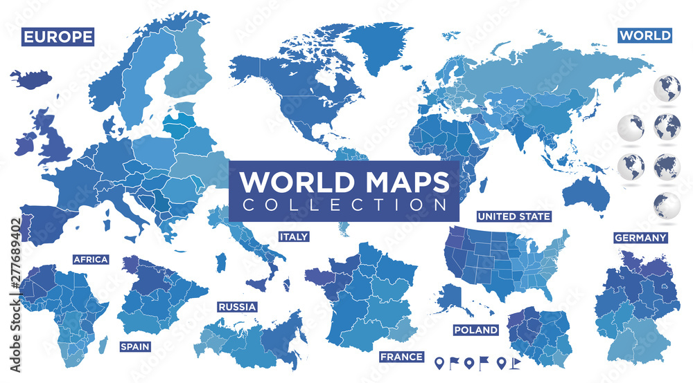 Fototapeta World map with countries