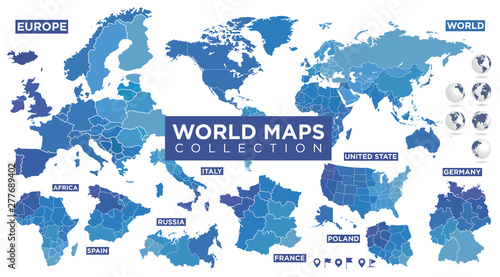 Fotografie, Obraz World map with countries