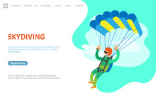 Skydiving Hobby Of Person Vector, Strong Male Holding Straps Of Parachute Flying Landing Down On Ground. Extreme Sports And Hobby Activity Of Man. Website Or Webpage Template, Landing Page Flat Style