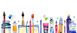 Artist materials in a row - paintbrushes, pens, stationery, paint tubes. Hand drawn watercolor illustration