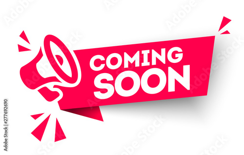 Modern red vector banner ribbon coming soon with megaphone Wallpaper Mural