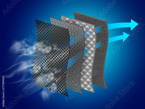 Fototapeta Dust filter layer Smoke and dirt With special material layers Helps in air purification Vector realistic file. obraz