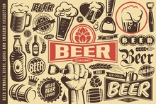 Beer Symbols, Emblems, Logos, Icons And Design Elements Collection. Pubs, Drinks, Alcohol And Oktoberfest Theme. Vector Illustrations Set.