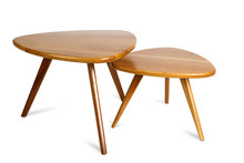 Set Of Retro Wooden Coffee Table On White Background ,included Clipping Path