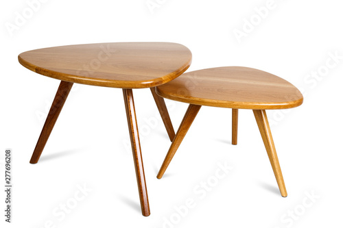 Fototapeta Set of retro wooden coffee table on white background ,included clipping path obraz