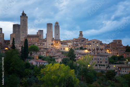 Beautiful view of the medieval town of San Gimignano in night, Tuscany, Italy Canvas Print