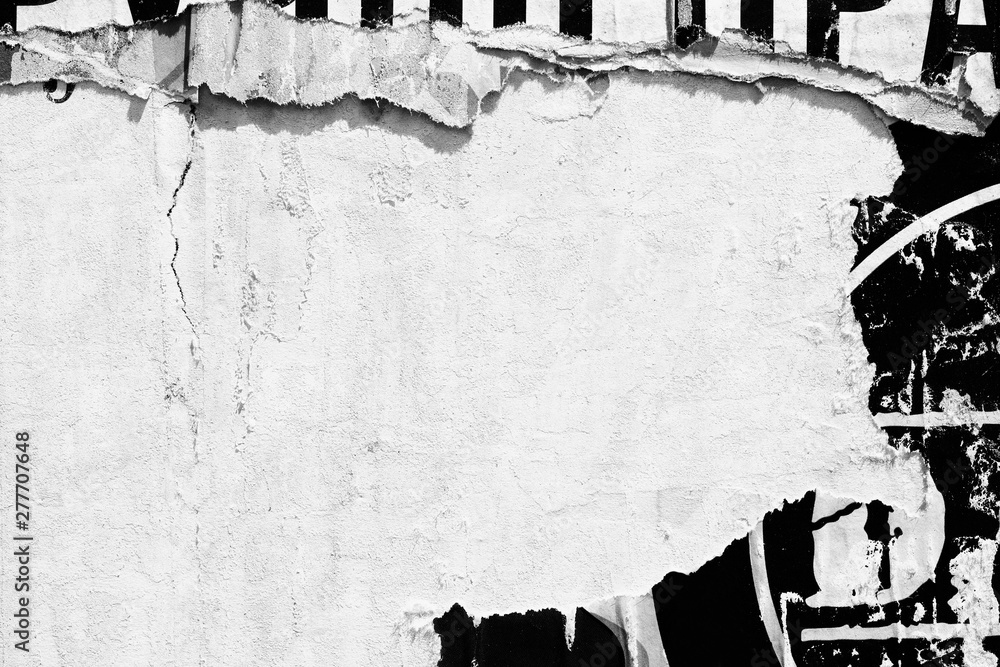 Fototapeta Old blank white grunge ripped torn posters  crumpled paper background wall empty space for text