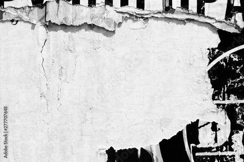 Leinwand Poster Old blank white grunge ripped torn posters  crumpled paper background wall empty